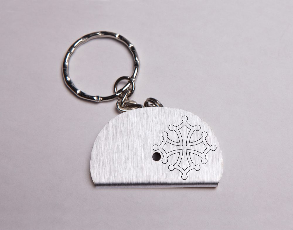 Sifflet porte clés gravé croix occitane